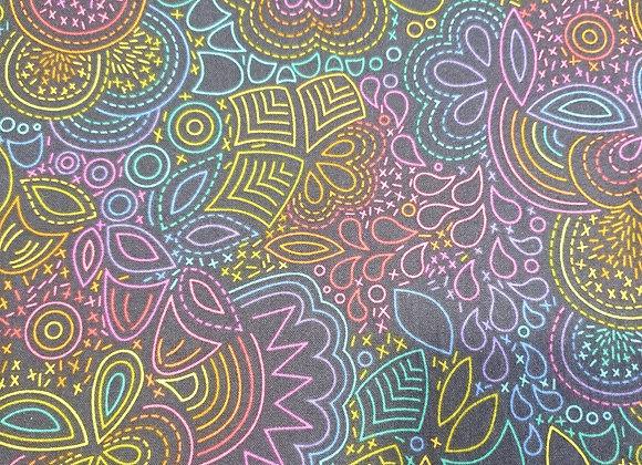Rainbow Doodles On Dk Grey