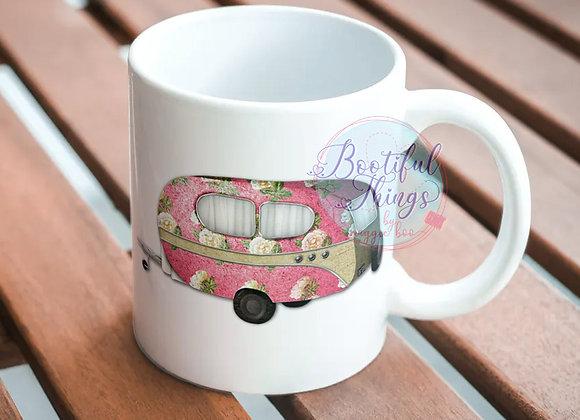 Camping Mug - Pink Heart and Caravan