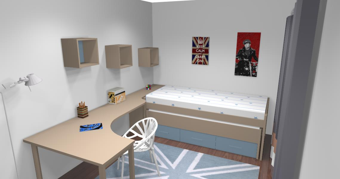 Combiné lit/bureau d'angle