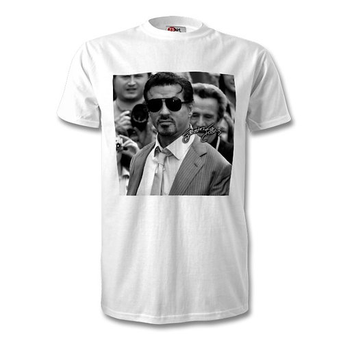 Sylvester Stallone Autographed Mens Fashion T-Shirt