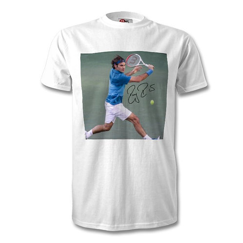 Roger Federer Autographed Mens Fashion T-Shirt