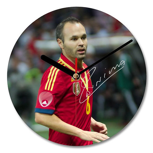 Andres Iniesta - Barcelona - Spain Autographed Wall Clock