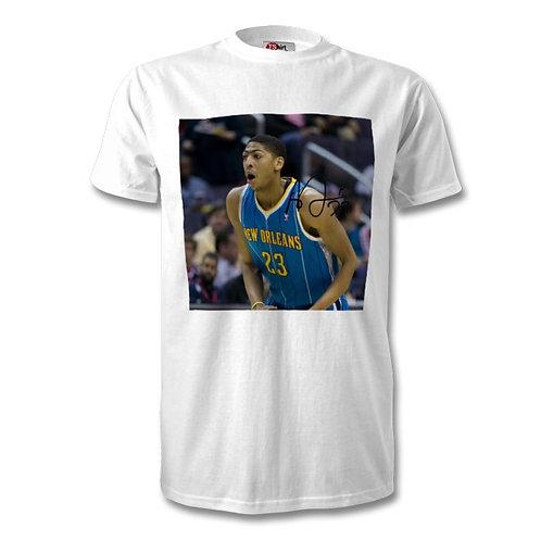 Anthony Davis New Orleans Hornets NBA Autographed Mens Fashion T-Shirt