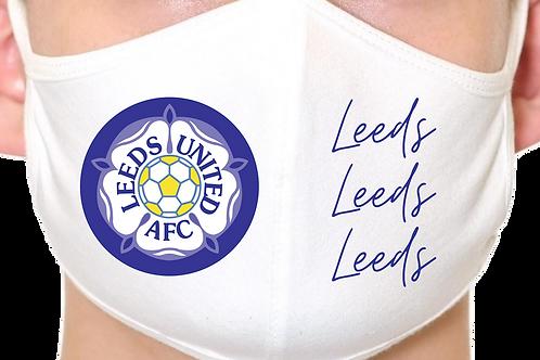Leeds United Retro 90s Badge Reusable Face Mask