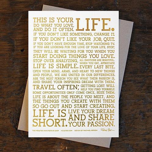 Holstee Gold Foil Manifesto Print