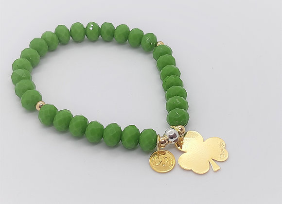 Faceted Murano Crystal Bracelet with 14K gold filled clover charm