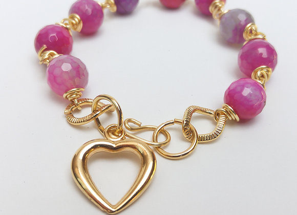 Faceted Pink Agate-Agate Rose Coeur