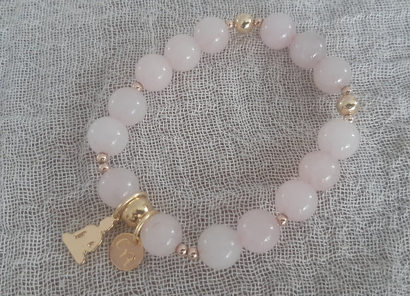 Natural Rose Quartz Bracelet, 14K Gold Filled Beads, Yoga, Meditaction bracelet