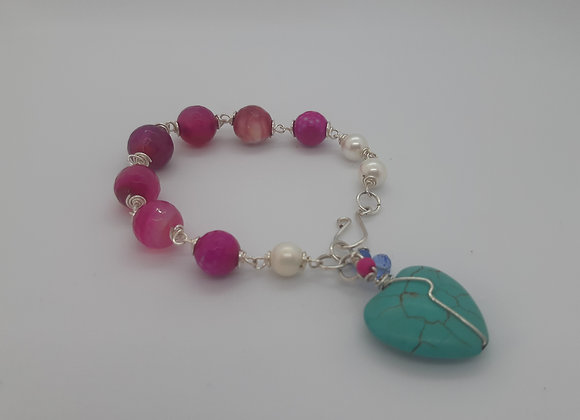 Faceted Pink Agate and Pearl - Agate Rose