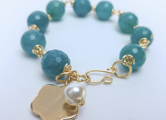 Faceted aquamarine Agate Agate Bleu