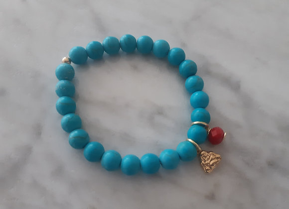 Turquoise bracelet with Buda charm and red murano crystal