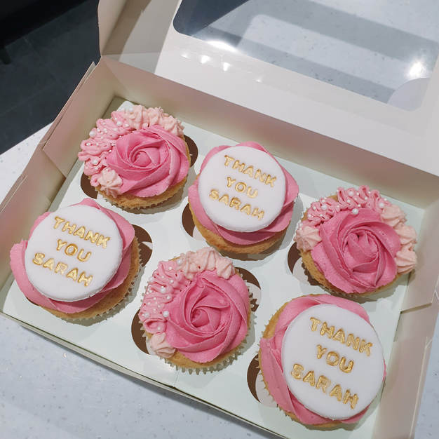 Pink 'thank you' cupcakes