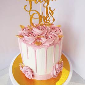 Pink rose 1st birthday cake