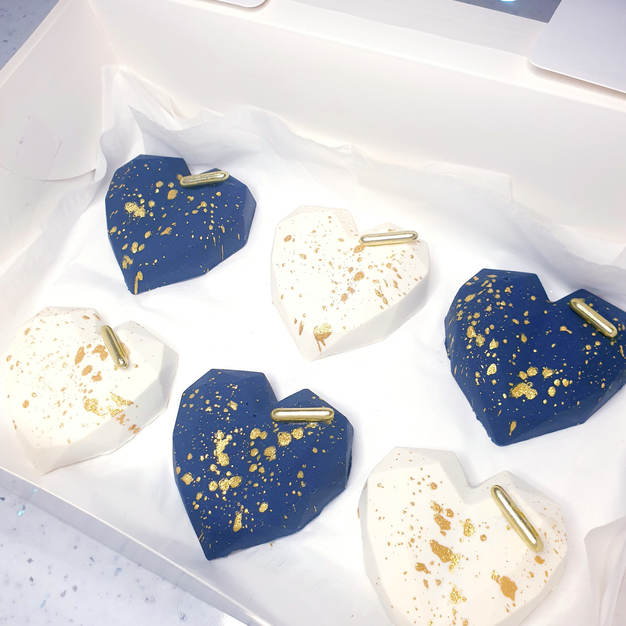 Navy White Cake Hearts