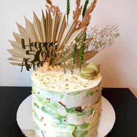 Sage Green & White Cake