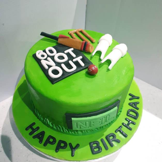 Cricket Themed Birthday Cake