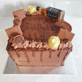 Chocolate Cake with Alcohol bottles