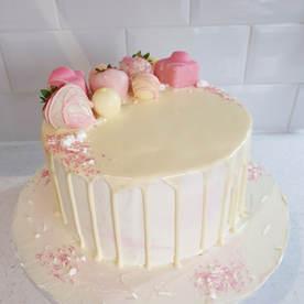 Pink Birthday Drip Cake