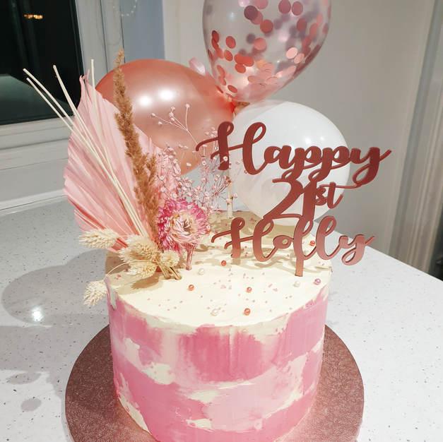 Pink & Rose Gold Birthday Cake