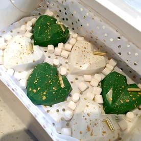 Green & White Cake Hearts