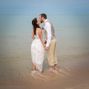 Couple on Beach after the ceremony, Frankfort, MI
