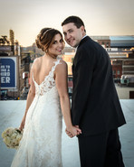 Bride and Groom on the rooftop of the Atheneum, Detroit, MI