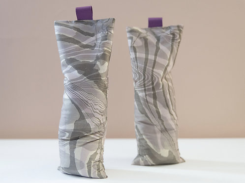 Suminagashi Silk Eye Pillow | Dusty Purple & Charcoal