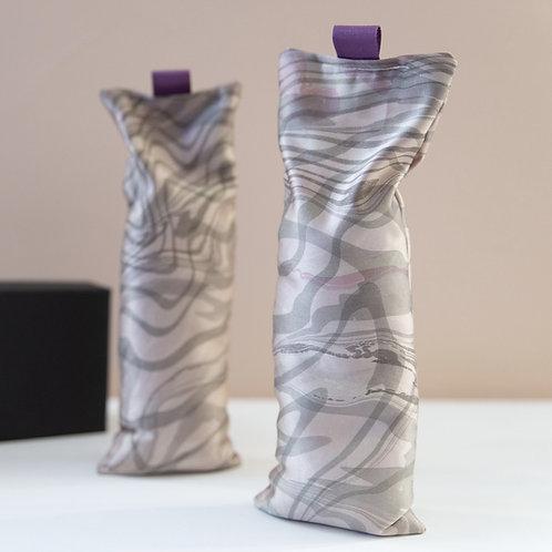 Suminagashi Silk Eye Pillow | Grape & Charcoal on Satin Silk