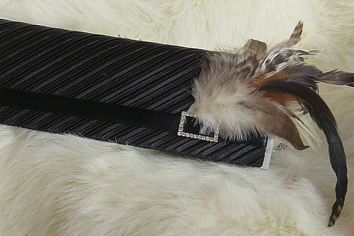 Pleated Clutch with Feather