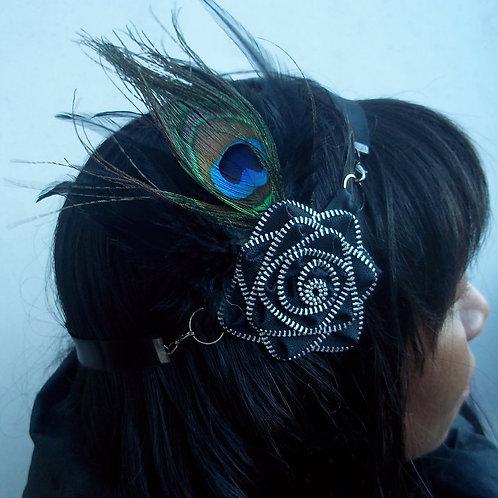 Peacock Zipper Rosette Accents Multi-wear