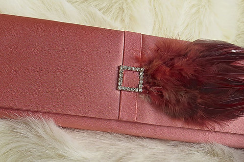 Satin Clutch with Feather
