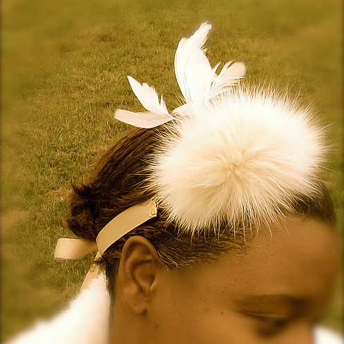 Ivory Feather and Fur Accents Multi-wear