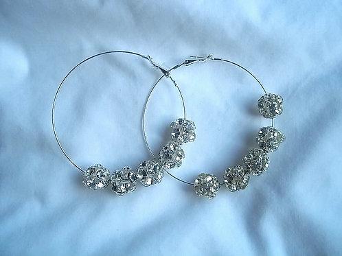 Rhinestone Ball Hoop Earrings