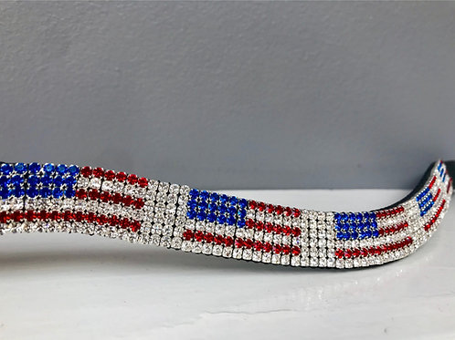 USA American bling crystal flag horse browband Elegant Equines Preciosa red white blue crystals