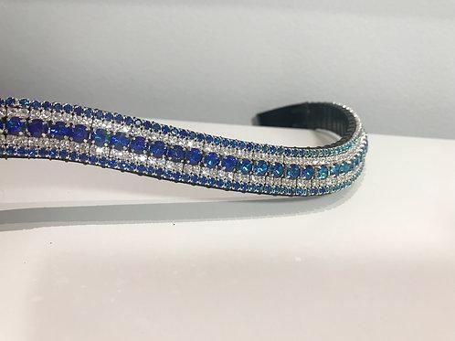 Bermuda blue and crystal 5 row Preciosa bespoke browband