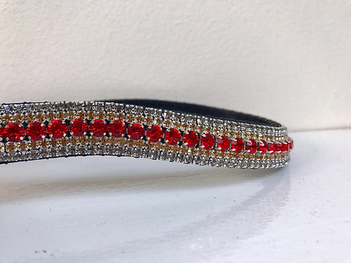 Light Siam red and crystal velvet and light colorado bling crystal browband