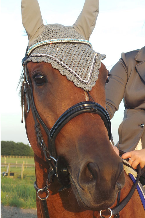 Elegant Equines Grey tie down bling crystal fly veil