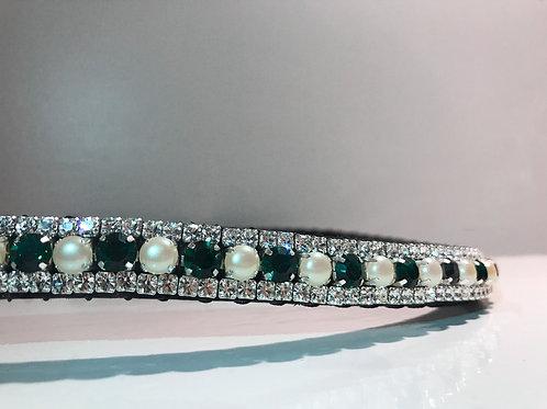 Emerald green bling crystal horse browband Elegant Equines