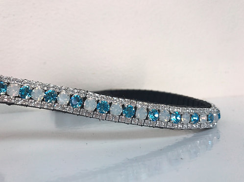 White Opal and Aquamarine bling crystal horse browband