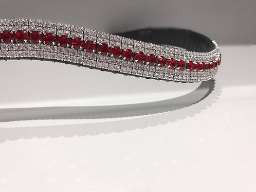 Light Siam red bling crystal browband Swarovski diamante