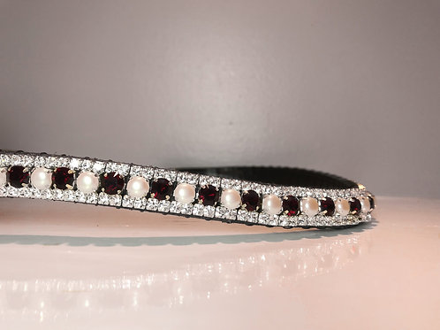 bling crystal horse browband Red garnet and pearl