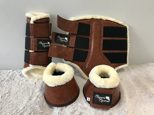 Elegant Equines Brown horse brushing boots and over reach boots