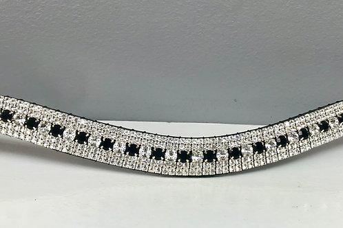 Jet black and crystal Preciosa crystal browband Swarvoski
