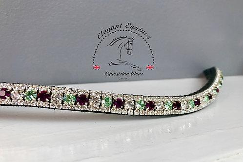 Bling crystal horse browband Elegant Equines amethyst crysolite and crystal