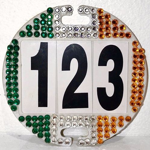Irish flag bling crystal bridle number
