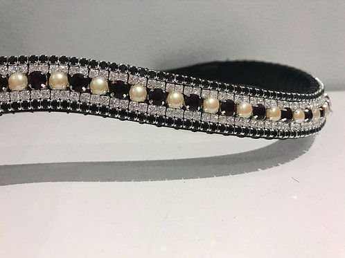 Garnet red and pearl bling crystal browband