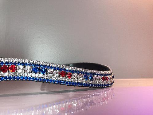 UK GB bling crystal flag browband red white blue Patriotic flag