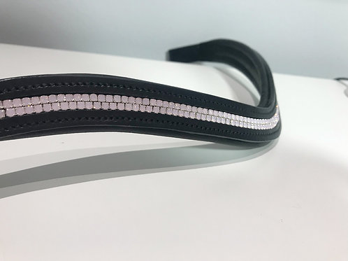 Rose opal pink channel  Preciosa bespoke horse browband