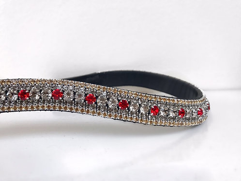 Red and crystal velvet and light colorado bling crystal browband