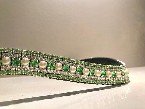Peridot green, pearl and crystal browband Preciosa and Swarovski